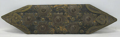 Antique Hand Chased Brass Embellished Wood Plaque Miniature Shield Wall Art yqz