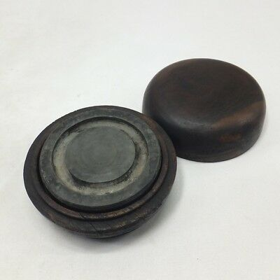 D578: Chinese tasty circular ink stone with good atmosphere w/wooden case