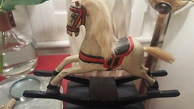 Vintage Miniature Wooden Rocking Horse With Rabbit Fur Mane & Horsehair Tail