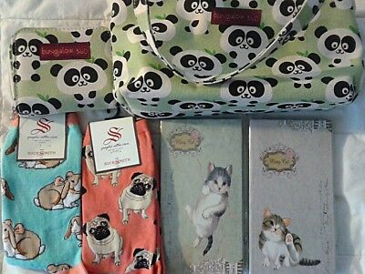 Gifts for girls: 2 pairs of socks, 2 writing pads, 1 wallet, 1 purse. Pet lovers