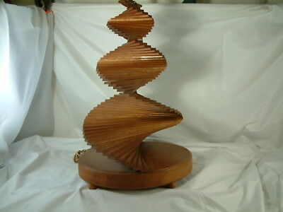 """Art-Deco All Wood """"spiral Design"""" Table Lamp"""