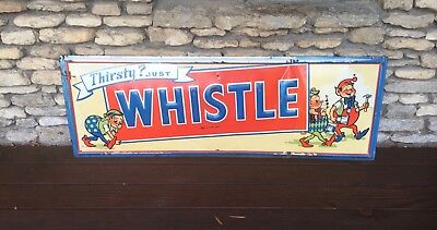 Rare Vintage Whistle soda Embossed Tin Elves Sign Soda Pop Collectible