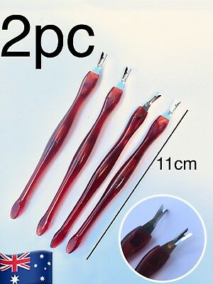 2 Pcs Cuticle Nail Art Manicure Pedicure Remover Pusher Trimmer Removal Cutter