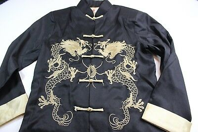Laogudia Black Gold Satin Embroidered Oriental Knot Jacket Large L