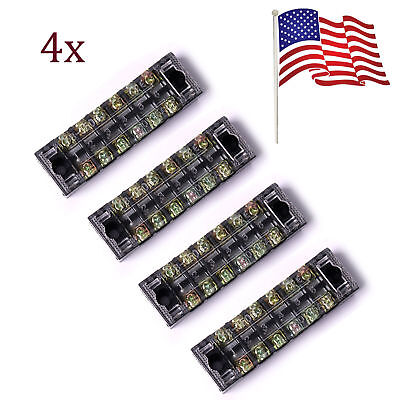 4Pcs 600V 15A 6P Screw Electric Barrier Terminal Block Wire Connector TB-1506