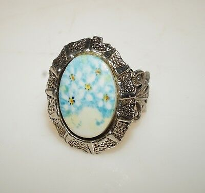 Vintage Hand Painted Blue White Daisy Porcelain Cameo Cocktail Ring Adjustable