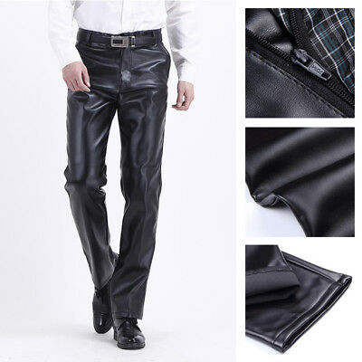 2018 Men S Leather Pants Motorcycle Biker Warm Windproof Pants