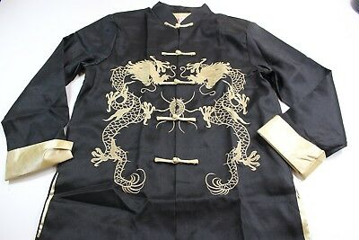 Laogudai Satin Gold Dragon Stitched Oriental Knot Jacket Top Medium M