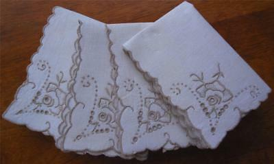 Set of Four Vintage Hand Embroidered Table NAPKINS/ Never Used
