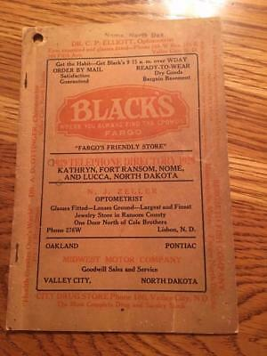 1929 North Dakota Telephone Directory book Kathryn Fort Ransom Nome Lucca