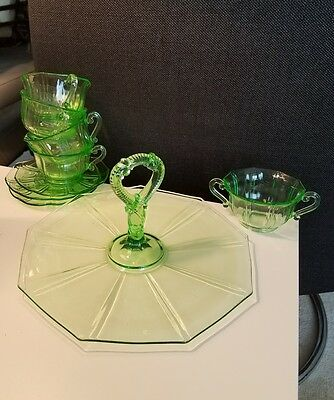 Indiana Glass Artura Deco Depression Glass Green,serving Dish Saucers,cups Sugar