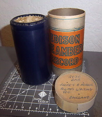 Edison Blue Amberol Record Wax Cylinder & box, 2030 Theres a Mother always...