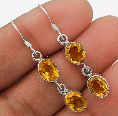 """3CT Golden Citrine 925 Solid Sterling Silver Earrings Jewelry 1 1/2"""" Long"""