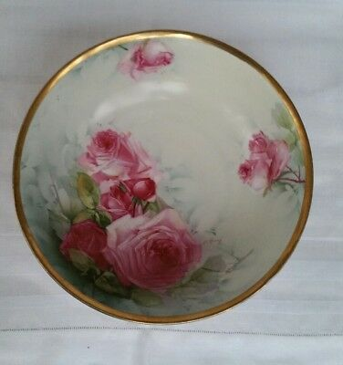 Vintage Bowl Antique Collectable Rose Hand Painted Vienna Austria Rare Nice Size