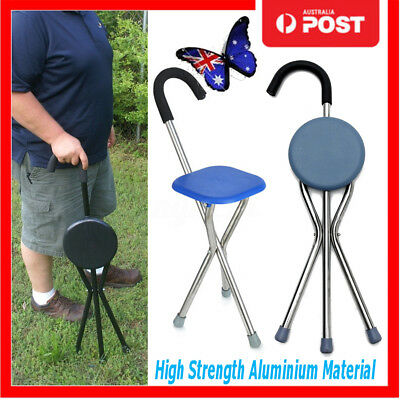 Portable Walking Stick With Seat Folding Tripod Cane Aluminium Hiking Chair AU