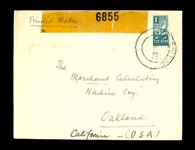 1943 South Africa Stamp Cover Censor WWII World War II Unknown California E40