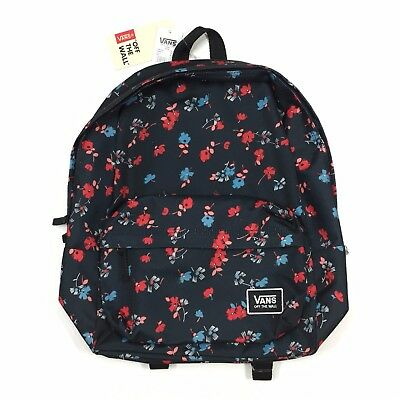 925bcdbcfb NEW VANS REALM Backpack Black Red Floral Cherry Blossom Bloom Book ...