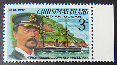 1978 Christmas Island Stamps - Famous Visitors Definitives - Single 3c - Tab MNH