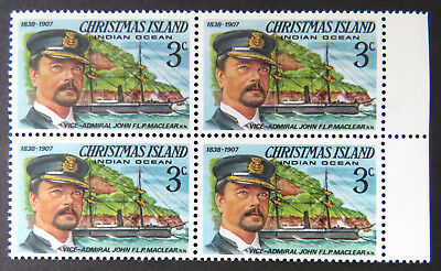 1978 Christmas Island Stamps - Famous Visitors Definitives-Block 4 x 3c-Tab MNH