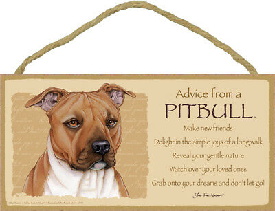 "Advice from a Pitbull Sign Plaque Dog 10"" x 5"" gift"