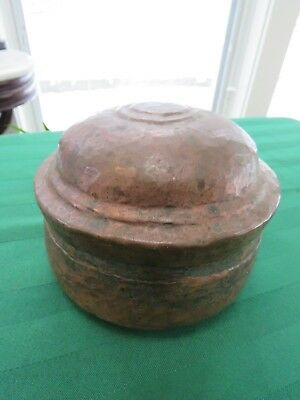 Vintage Hammered Copper Bowl & Lid - Trinket Box Antique Vintage BM7