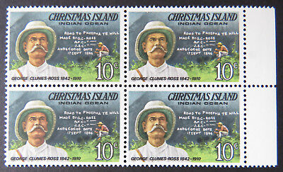 1978 Christmas Island Stamps - Famous Visitors Definitives - Block 4x10c-Tab MNH