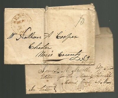 Horse Breeding - Chester, Nj 1834/35 2 Letters Ariel Am. Eclipse Nathan Cooper