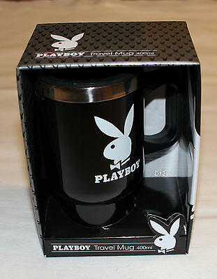 Playboy Bunny Logo Black Printed 400ml Travel Mug Cup New In Gift Box