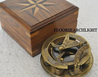 Solid Brass Nautical Compass Sundial W/ Wooden Box