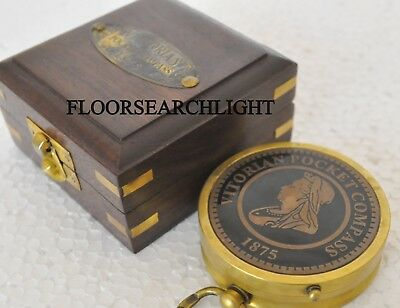 Solid Brass Victorian Pocket Robert Frost Compass Collectible Maritime Gift