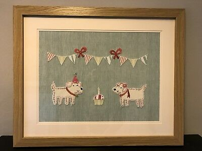 Susie Watson Appliqué Picture Framed Dogs & Bunting