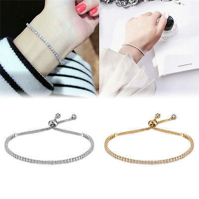 Women Fashion Cuff Jewelry Rhinestone Crystal Bracelet Adjustable Bangle Gift