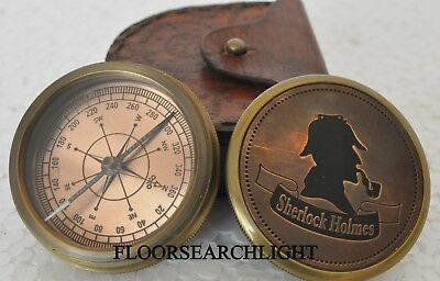 Sherlock Holmes Compass Brass Compass Poem Compass with leather case