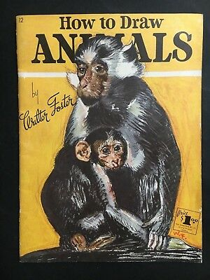 ART BOOK WALTER FOSTER HOW TO DRAW ANIMALS FROM 1960's