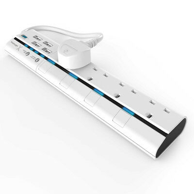 Lexuma XStrip: 4 - UK Protected Power Strip with 4 USB Charging Ports - White