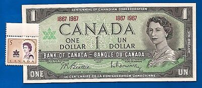 1967 CANADA Canadian ONE 1 DOLLAR BILL NOTE CRISP UNC w stamp