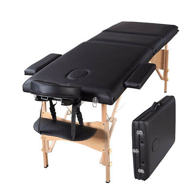 "84""L Portable Massage Table 3 Fold Facial SPA  Reiki w/Free Carry Case Bed Black"