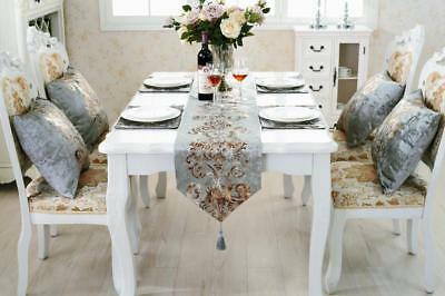 Silver Flocked Damask Chenille Table Runner Cushion Placemat Set For