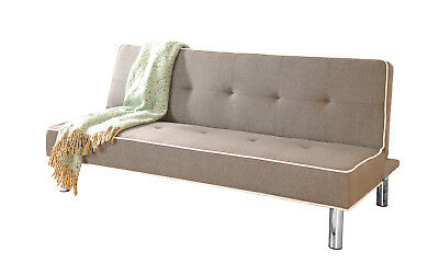 Modern Fabric Sofa Bed 3 Seater Recliner With Chrome Legs - Grey, Black or Brown