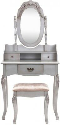 Vintage Style Silver Dressing Table Large Swivel Mirror Three Spacious Drawer