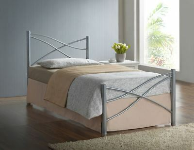1d57601808aa 3ft Single Modern Metal Bed Frame in Silver, White or Pink with Mattress  Options