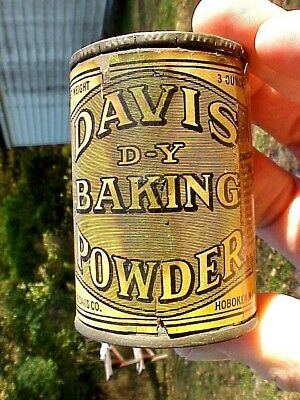 RARE 1930s American Medical Assn. DAVIS BAKING POWDER 3oz FREE SAMPLE TIN Full!