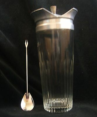 Vintage Indiana Glass Ribbed Cocktail Shaker with Stirrer - The Cocktailor