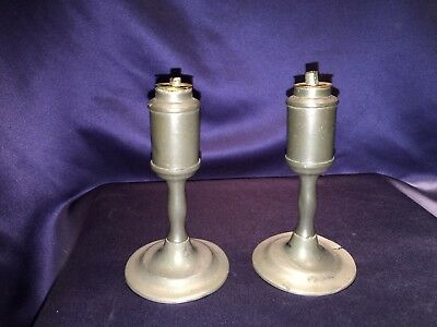Pair of Antique American Pewter Sparking Whale Oil Lamps C1850