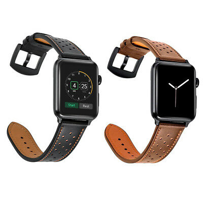 Premium Genuine Leather Watch Strap Band for Apple Watch Series 1 2 3 38mm/42mm