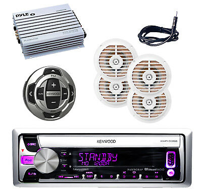 Marine Kenwood CD/MP3  Pandora Receiver Antenna,400W Amp,4 Speakers,Wired Remote