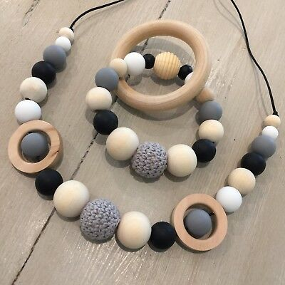 Nursing Necklace & Teether Gift Set, BPA Free Silicone, Organic Wood,Monochrome