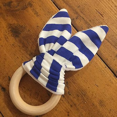 Wood And Cotton Crinkle Sound Bunny Ears Teething Ring, Blue and White Stripe