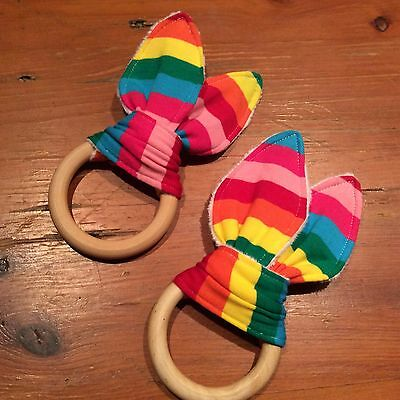 Rainbow Colours -Natural Wood Crinkle Sound Bunny Ears Teething Ring Quality H/M