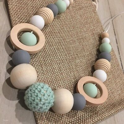 Natural Wood & BPA Free Silicone Nursing Teething Necklace, 80cm  Hand Made